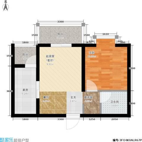 国际幸福城1室0厅1卫1厨87.00㎡户型图