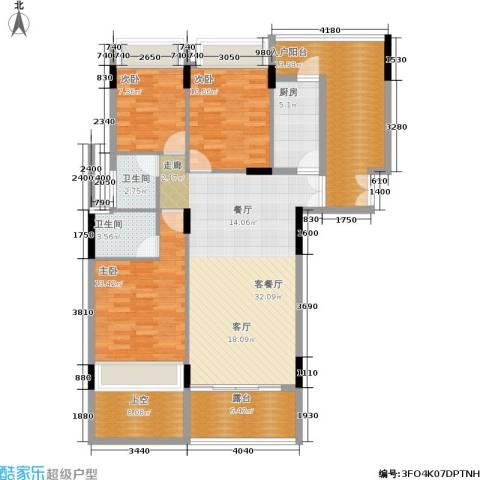 金地梅陇镇3室1厅2卫1厨103.32㎡户型图
