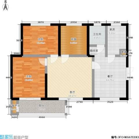 新长江香榭琴台四期墨园2室2厅1卫1厨121.00㎡户型图