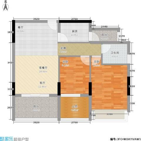 金地梅陇镇2室1厅1卫1厨70.00㎡户型图