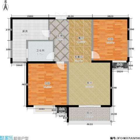 绿地世纪城2室1厅1卫1厨108.00㎡户型图