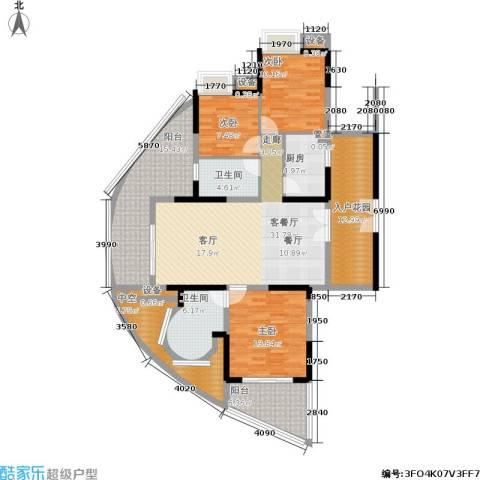 世纪春城3室1厅2卫1厨122.06㎡户型图