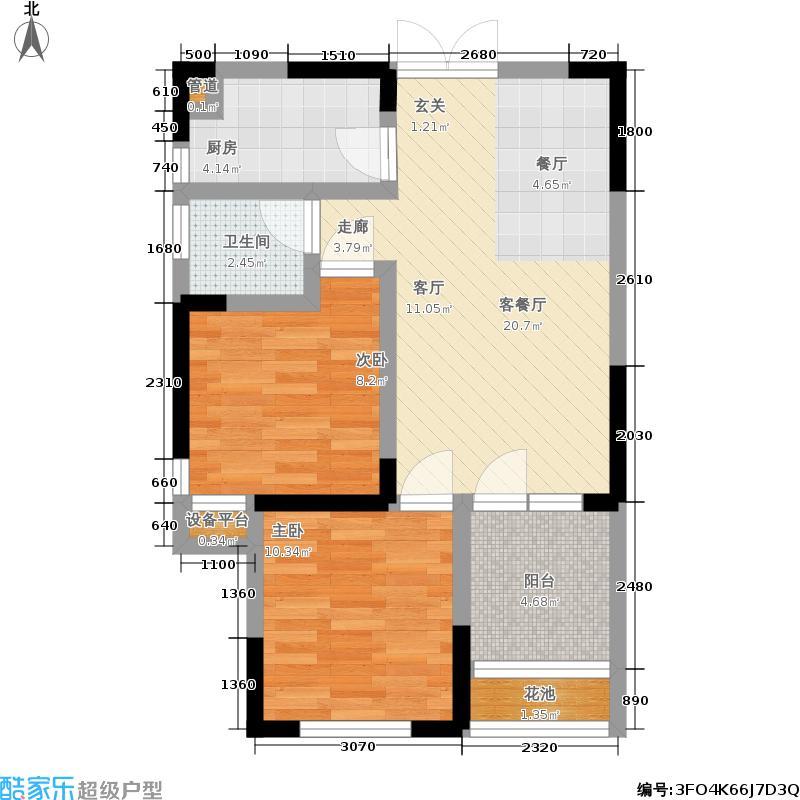 新长江香榭琴台四期墨园77.29㎡A户型 两房两厅一卫户型2室2厅1卫