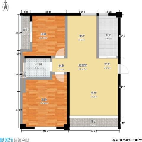 华南国际2室0厅1卫1厨108.00㎡户型图