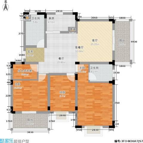 南郡明珠3室1厅2卫1厨102.89㎡户型图