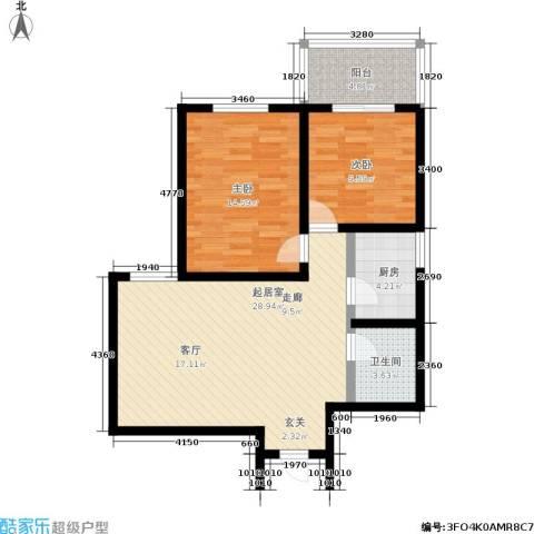明德8英里2室0厅1卫1厨76.00㎡户型图