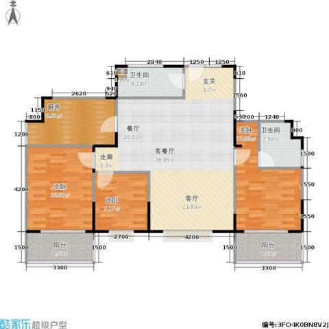 山大新苑3室1厅2卫1厨128.00㎡户型图