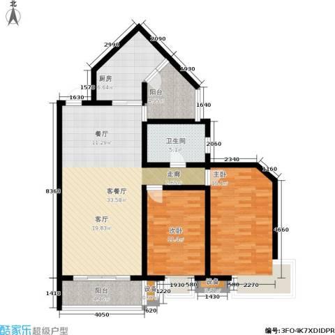 宋都西湖花苑2室1厅1卫1厨95.00㎡户型图