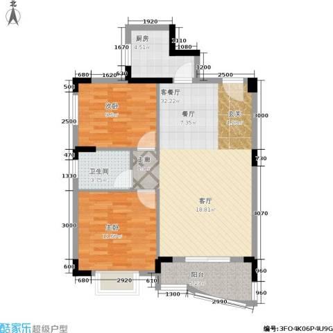 御景名苑2室1厅1卫1厨80.00㎡户型图
