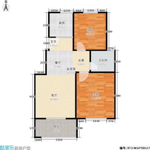 建大教授花园2室0厅1卫1厨88.00㎡户型图