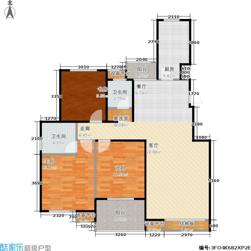 重汽翡翠清河119.00㎡西区23号楼 三室两厅两卫户型3室2厅2卫