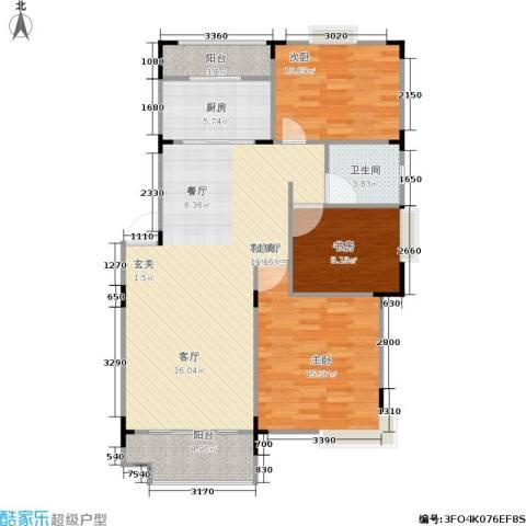金座嘉园3室1厅1卫1厨94.00㎡户型图