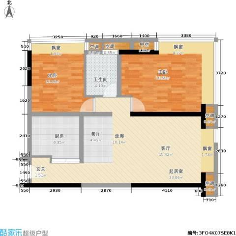 珠江新岸公寓2室0厅1卫1厨88.00㎡户型图