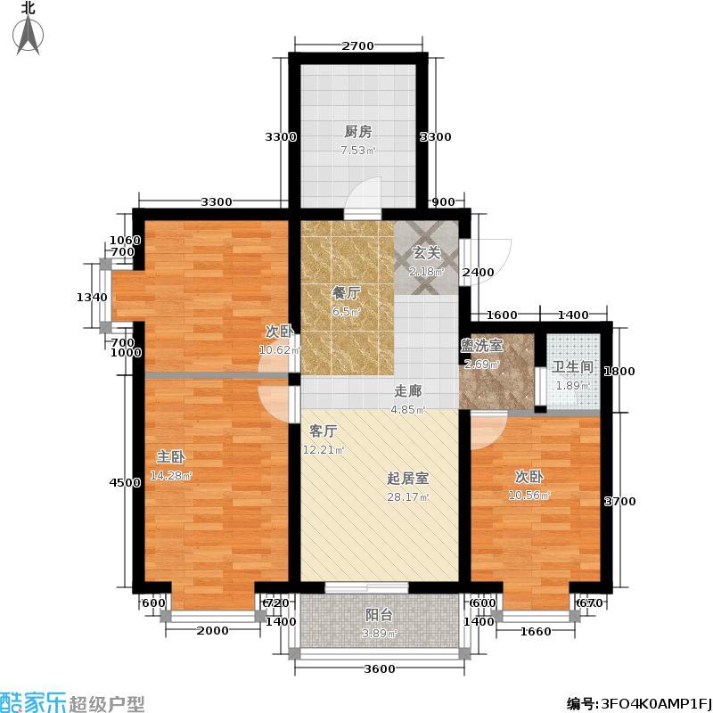 国际幸福城户型3室1卫1厨