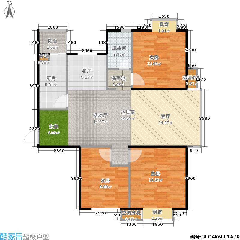鸿基新城121.10㎡鸿基新城户型图在售沁园G户型三房两厅(1/5张)户型3室2厅1卫