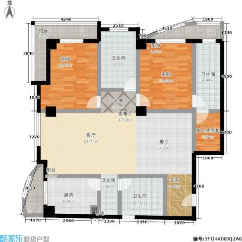 航天星苑2室1厅3卫1厨168.00㎡户型图