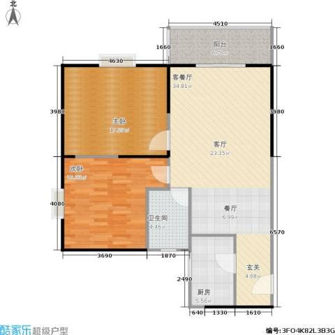 鼎盛国际公寓2室1厅1卫1厨90.00㎡户型图