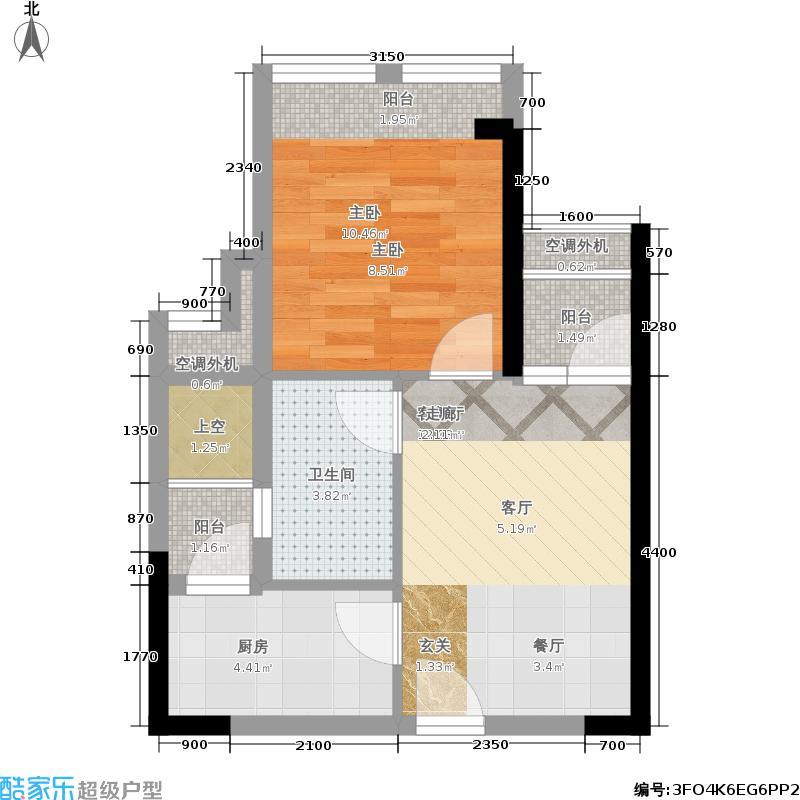 星河盛世47.00㎡星河盛世户型图A3座1单元偶数层02户型一房二厅一卫(2/3张)户型1室2厅1卫
