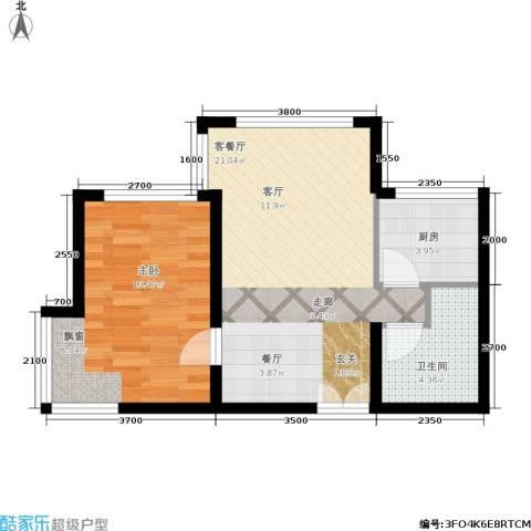 长江杰座1室1厅1卫1厨61.00㎡户型图