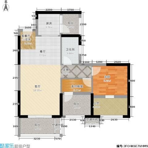 星河盛世1室1厅1卫1厨78.00㎡户型图