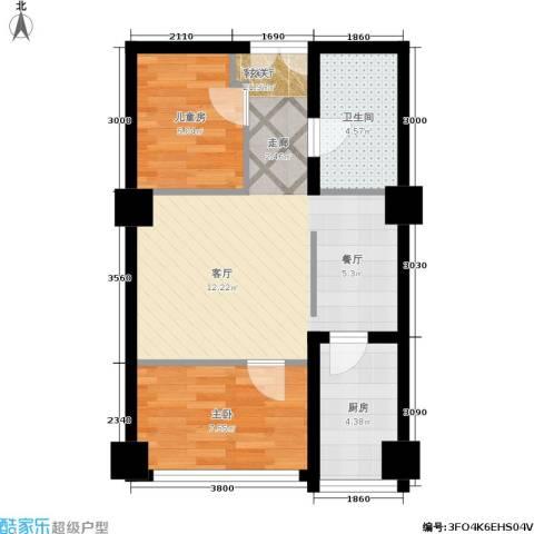 长江杰座2室1厅1卫1厨63.00㎡户型图