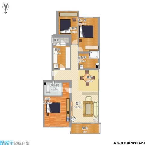 龙跃苑一区3室1厅2卫1厨154.00㎡户型图