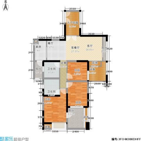 世纪春城3室1厅2卫1厨137.00㎡户型图