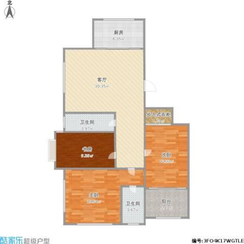 新城逸境3室1厅2卫1厨120.00㎡户型图