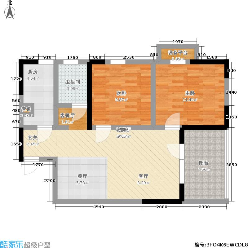 龙阳1号87.00㎡龙阳1号10-2a-1户型2室2厅1卫1厨户型2室2厅1卫