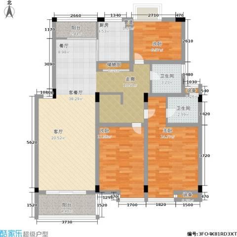 月亮湾亲水嘉园3室1厅2卫1厨106.00㎡户型图