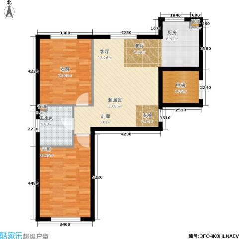 万亿香橙2室0厅1卫0厨77.00㎡户型图