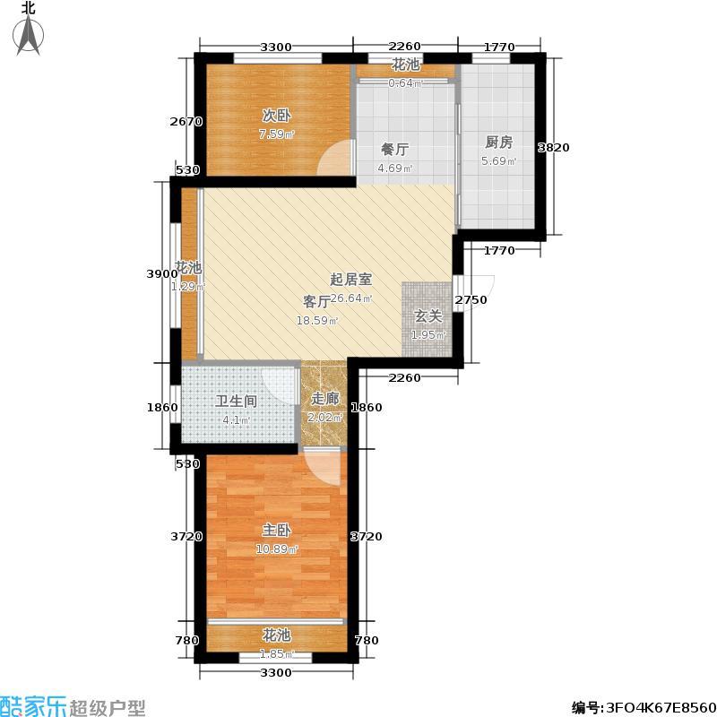 枣园万象76.00㎡B2二室二厅一卫户型2室2厅1卫