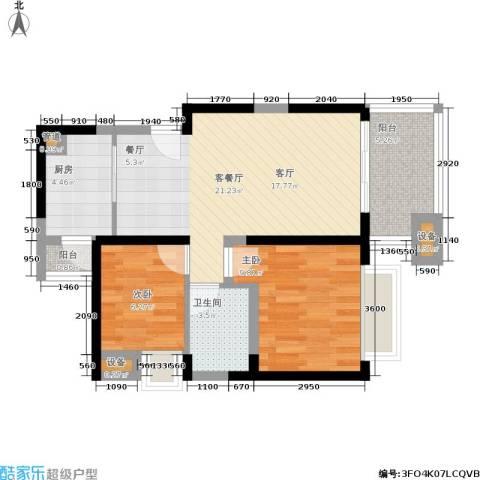 世纪春城2室1厅1卫1厨60.00㎡户型图