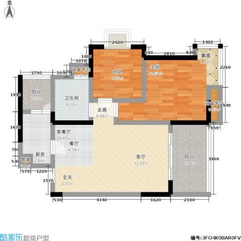 新城丽园2室1厅1卫1厨96.00㎡户型图