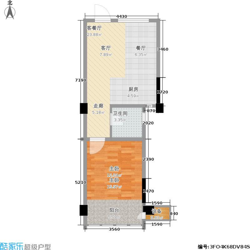 翡翠珑湾50.66㎡H7户型 一室一厅一卫户型1室1厅1卫