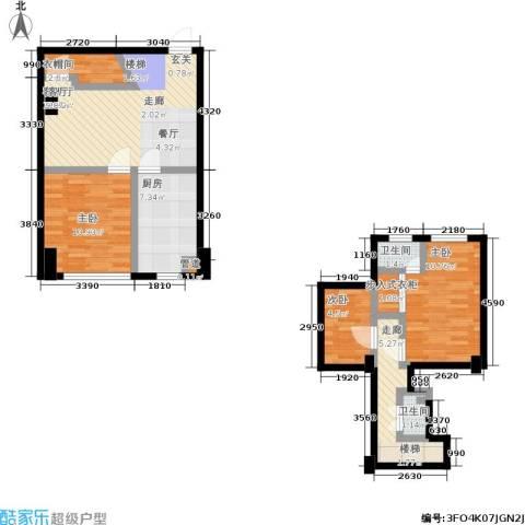 迪赛明天广场3室1厅2卫1厨98.00㎡户型图