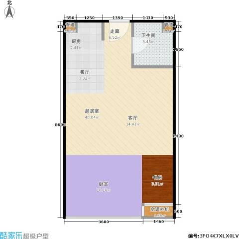 东方公寓1卫0厨44.42㎡户型图
