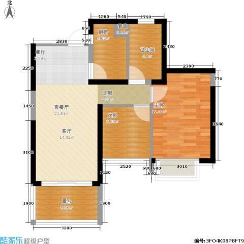 世纪春城2室1厅1卫1厨76.00㎡户型图