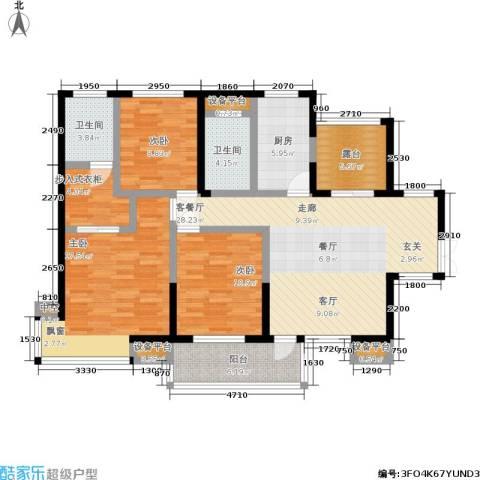 新长江香榭琴台四期墨园3室1厅2卫1厨128.00㎡户型图