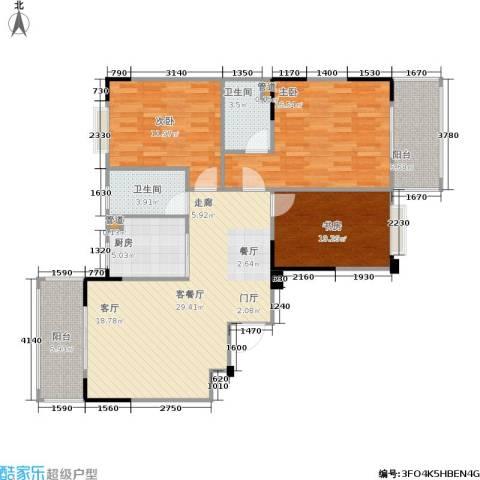 福地华庭3室1厅2卫1厨100.05㎡户型图