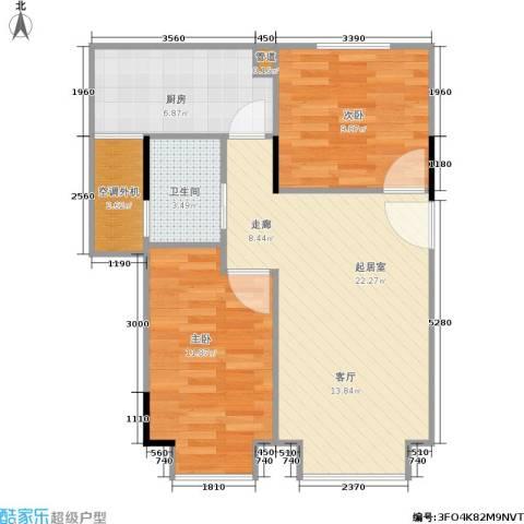 都市晨光2室0厅1卫1厨62.00㎡户型图