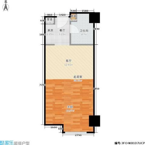 湘聚酒店公寓1卫0厨45.00㎡户型图