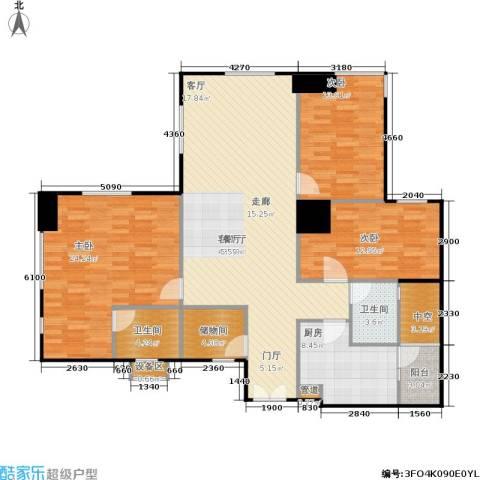 长江广场3室1厅2卫1厨132.00㎡户型图