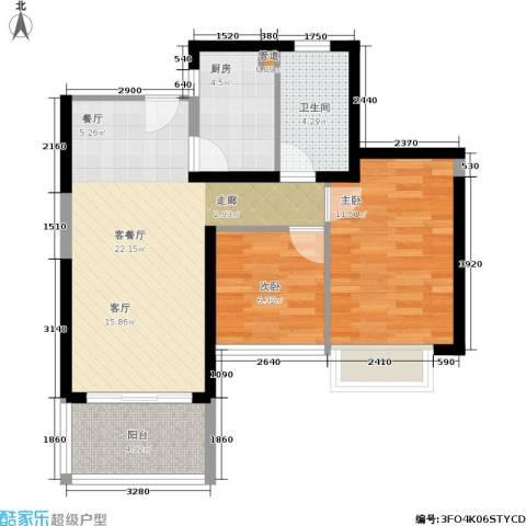 世纪春城2室1厅1卫1厨70.00㎡户型图