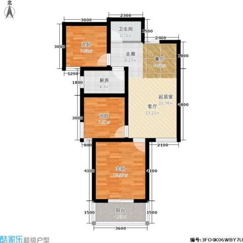 国际幸福城3室0厅1卫1厨89.00㎡户型图