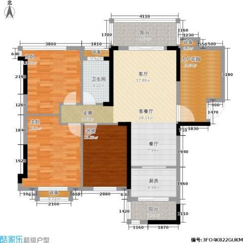 筑梦佳园3室1厅1卫1厨109.00㎡户型图