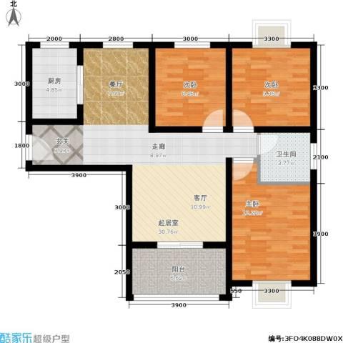 国际幸福城3室0厅1卫1厨110.00㎡户型图