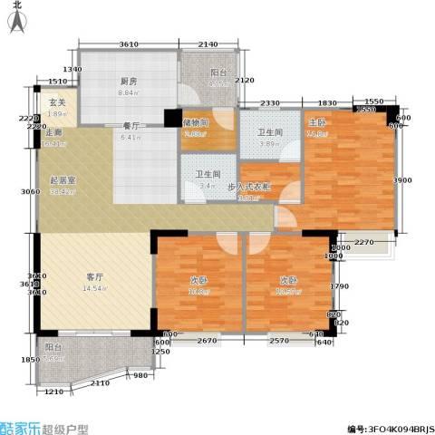 嘉新桃花里3室0厅2卫1厨131.00㎡户型图