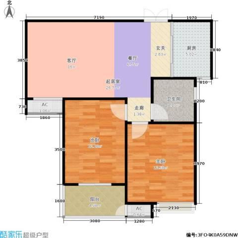 东方福郡2室0厅1卫1厨77.00㎡户型图