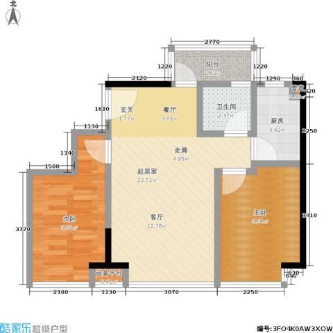 五米阳光2室0厅1卫1厨50.59㎡户型图
